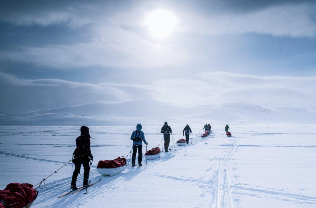 Polar medicine -kurssilaisista useimmat tulivat Isosta Britanniasta. He eivät koskaan olleet hiihtäneet.